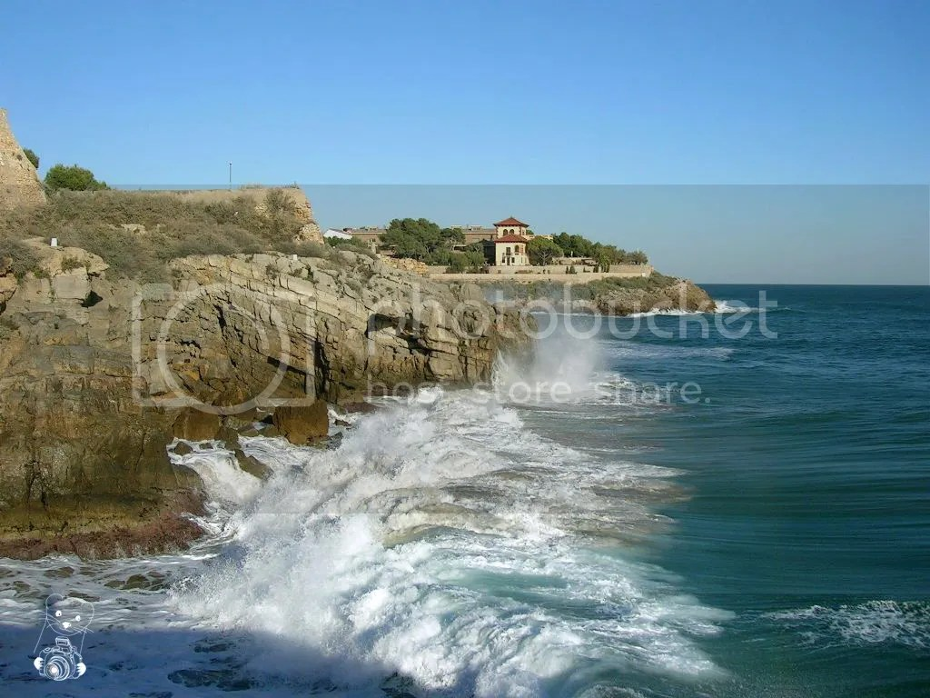 Tarragona in Spain, at the Mediterranean Sea - image of the coast, with villas