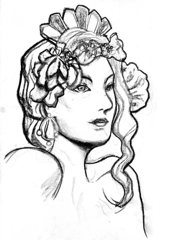 Art Nouveau Charcoal Sketch