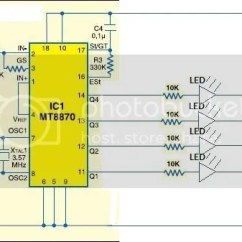 Dtmf Decoder Ic Mt8870 Pin Diagram 2009 Ford Ranger Radio Wiring Problems With This Circuit Did Not Show Any Response To Button Presses After A Lot Of Googling An Obscure Forum Post In Indian Stated That The 100k Resistor