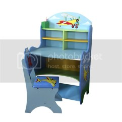 Study Table And Chair For Kids Grey Fabric Chairs With Chrome Legs Children Boys Aeroplane Desk