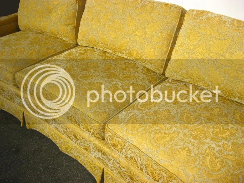 pottery barn goose down sofa small room set vintage henredon couch gold silk brocade