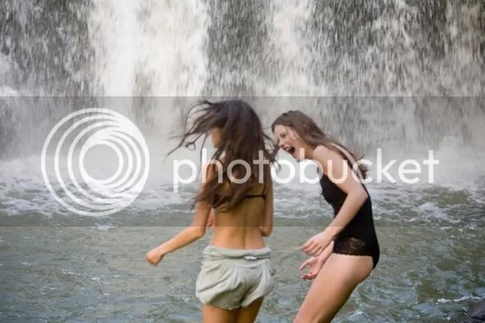 swimming,bathers,waterfall