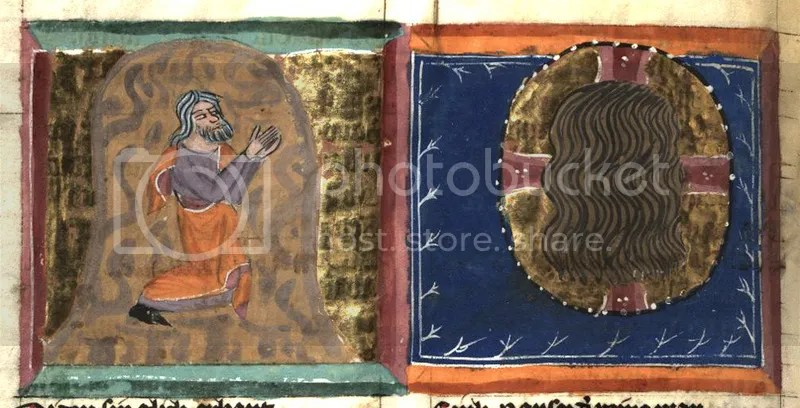 Moses in the cleft seeing the back of God's head: illumination from the Weltchronik HLB Fulda, Ms. Aa 88 (14th century)