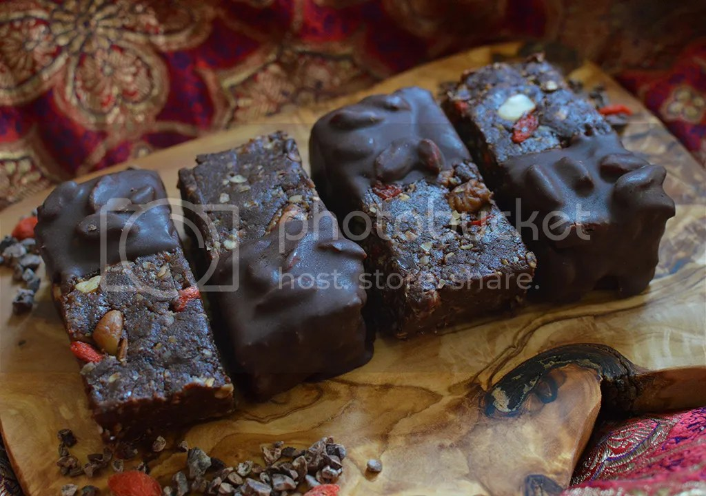 Raw Goji Brownie Bars With Pecan and Macadmia Nuts, Dipped in 'Rawr' Goji Chocolate