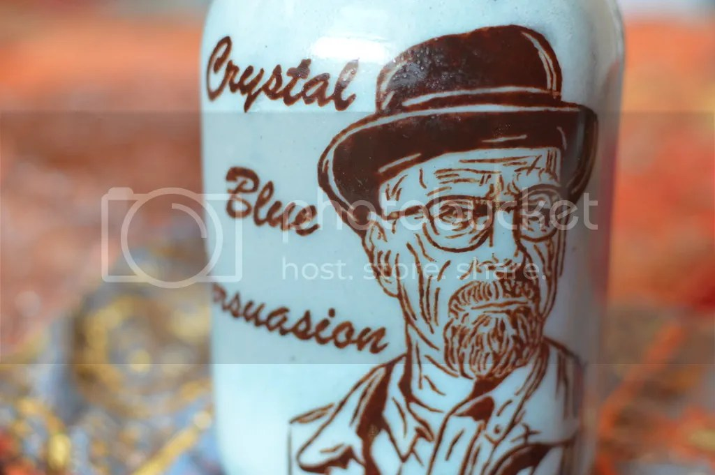 Breaking Bad Blue Banana Smoothie (coloured with natural spirulina based food colouring). Walt is painted inside in raw chocolate.