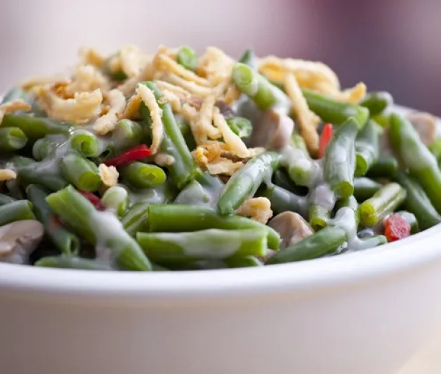 I Sort Of Love Green Beansand When You Top Em With Fried Onions Creamy Mushroom Sauce And My Not So Secret Ingredient Bacon Its A Taste Explosion