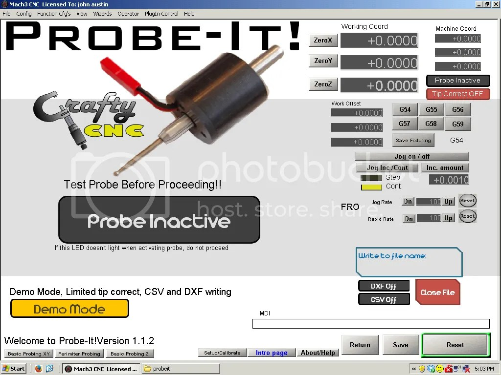 hight resolution of moving the probe tip does not make any differance on digitize or probe active leds