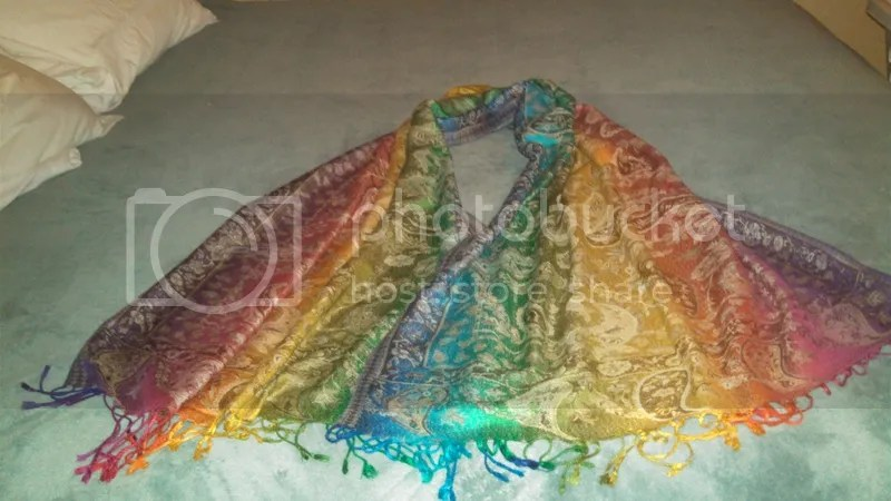 PD Singer's rainbow pashmina shawl