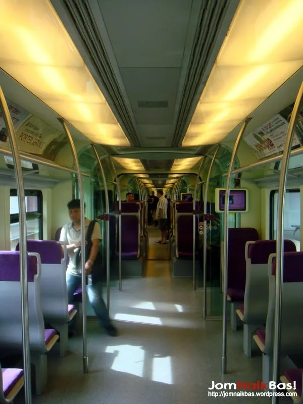 The interior of a KLIA Transit EMU trainset.