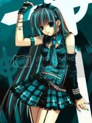 black and aqua anime goth girl