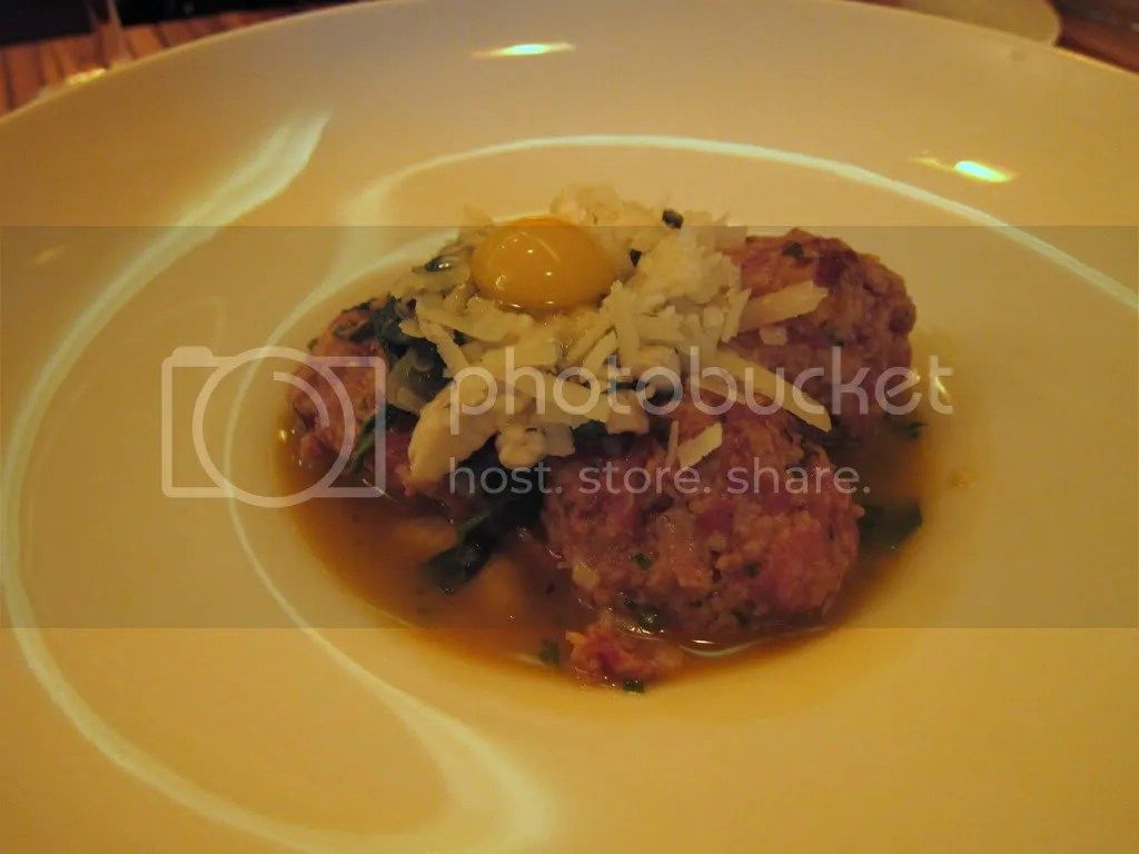 Spicy Duck Meatballs with Quail Egg, Mint Cavatelli, and Water ...