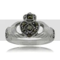 Celtic Marcasite Claddagh Ring