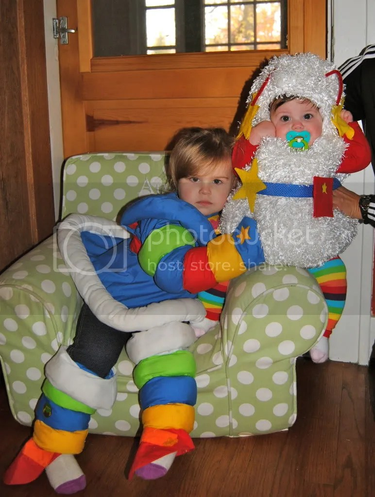 With rainbow stripe leg warmers and fully lined costume Twink from Rainbow Brite Costume for babies and kids Please order by Oct 21st.
