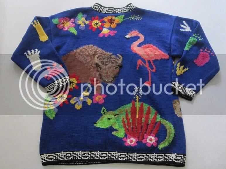 BEREK Marta D 1989 flamingo bull bear eagle sweater M L