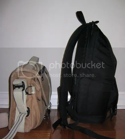 Comparing the Domke F-803 (side) and Fastpack 100 (side)