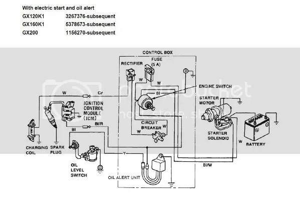 Honda Gx270 Wiring Diagram Gx390 Electric Start Honda