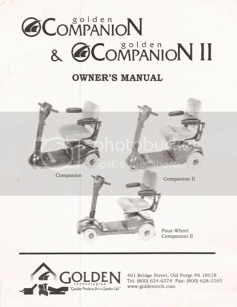 GOLDEN TECHNOLOGIES COMPANION SCOOTER OWNERS MANUAL Photo