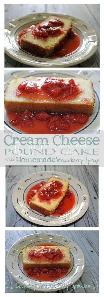 Cream Cheese Pound Cake with Homemade Strawberry Syrup- Country Mouse City Spouse Put some fresh ingredients into your family's desserts this summer with this versatile pound cake. | Food | Recipes | Strawberry | Sweets | Desserts | Homemaking | Housekeeping | Home Economics |