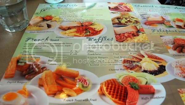 Menu of UCC Cafe Terrace, one of the many Cebu restaurants