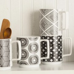 Black And White Kitchen Accessories Modern Cabinets In Funky Geometric Patterns Rosanna Stockholm Set