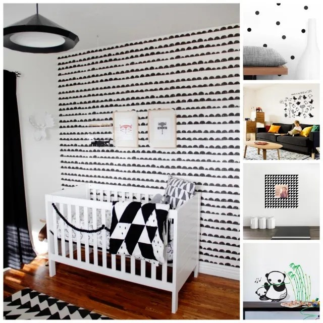 Plain Black Wallpaper For Walls More Than 40 Ideas For The Coolest Black And White Nursery