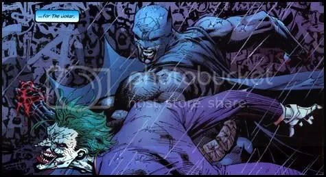The Joker takes a nasty beating at the hands of the Caped Crusader