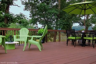 Deck updates with apple green furniture