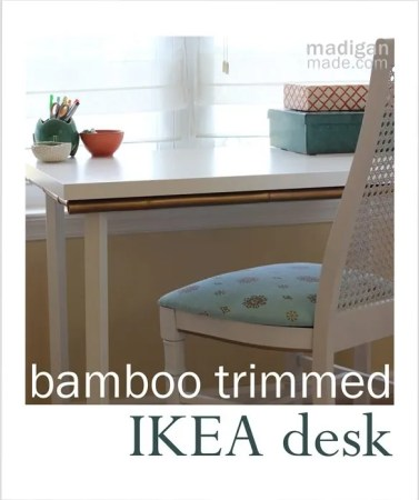 Update a simple IKEA desk with bamboo edging. - madiganmade.com