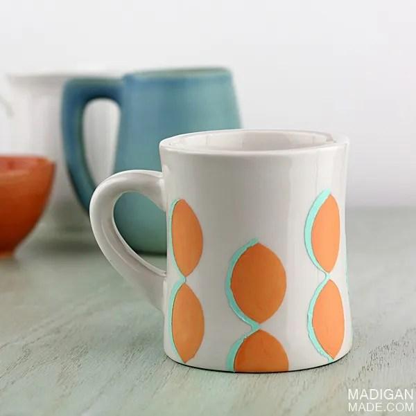 DIY painted ceramic mug