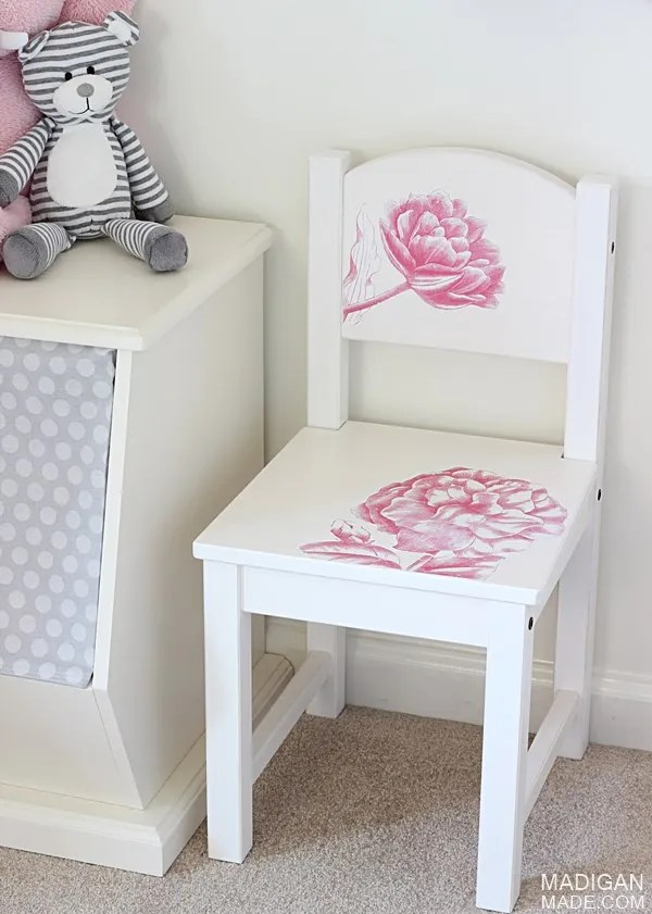 IKEA kids chair hack with photo transfer flower images