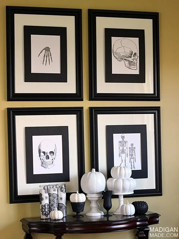 Black and white vintage Halloween decor and frames