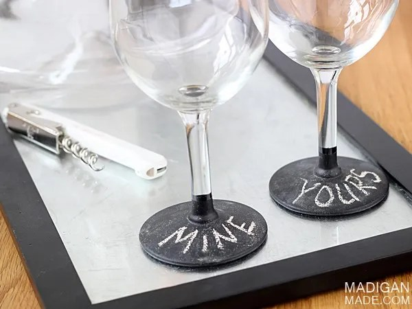 chalkboard painted glasses - easy craft idea