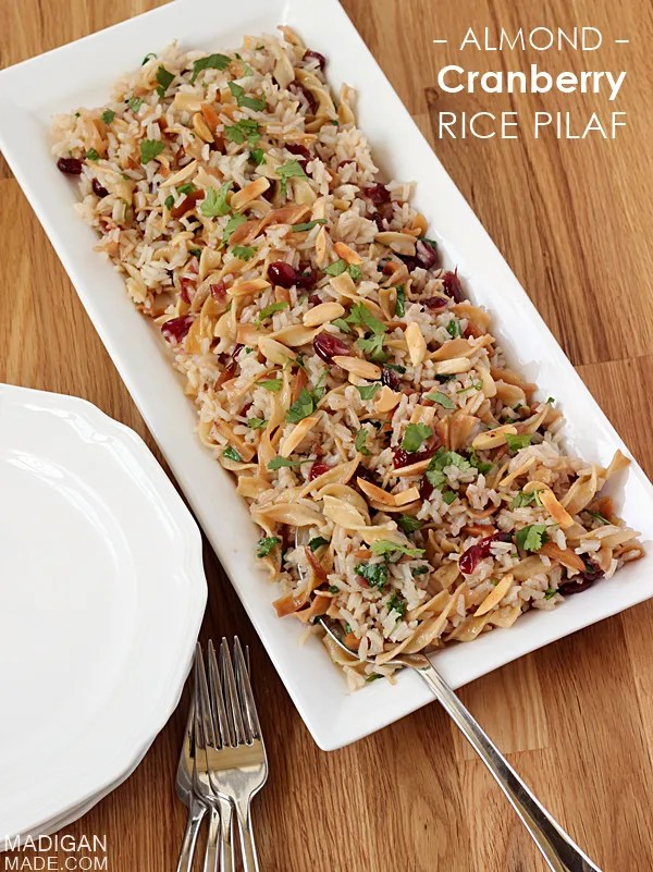 Cranberry almond rice pilaf recipe. (Plus 11 other awesome ideas to complete a holiday meal in style!)