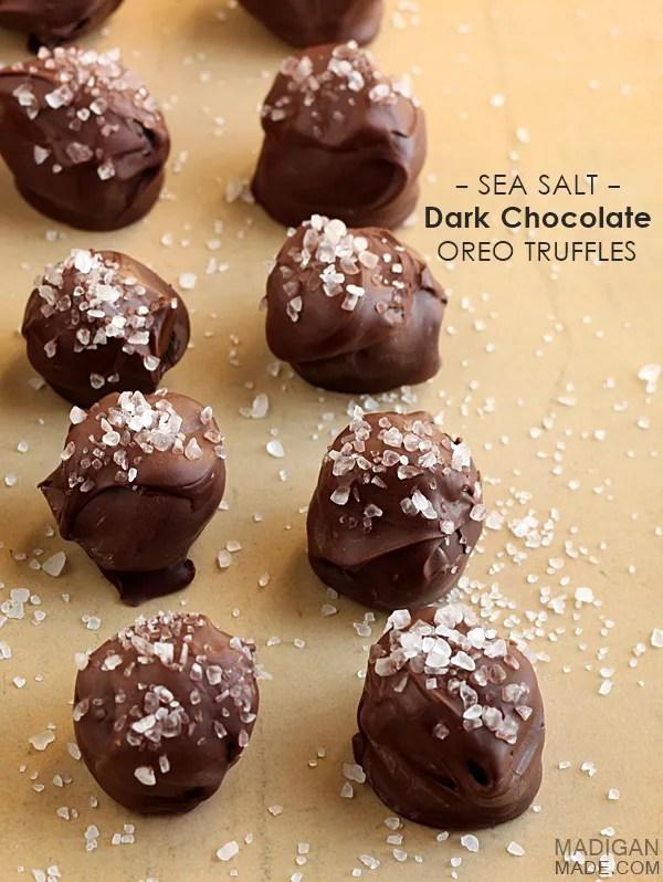 Dark chocolate and sea salt OREO cookie truffles #oreocookieballs