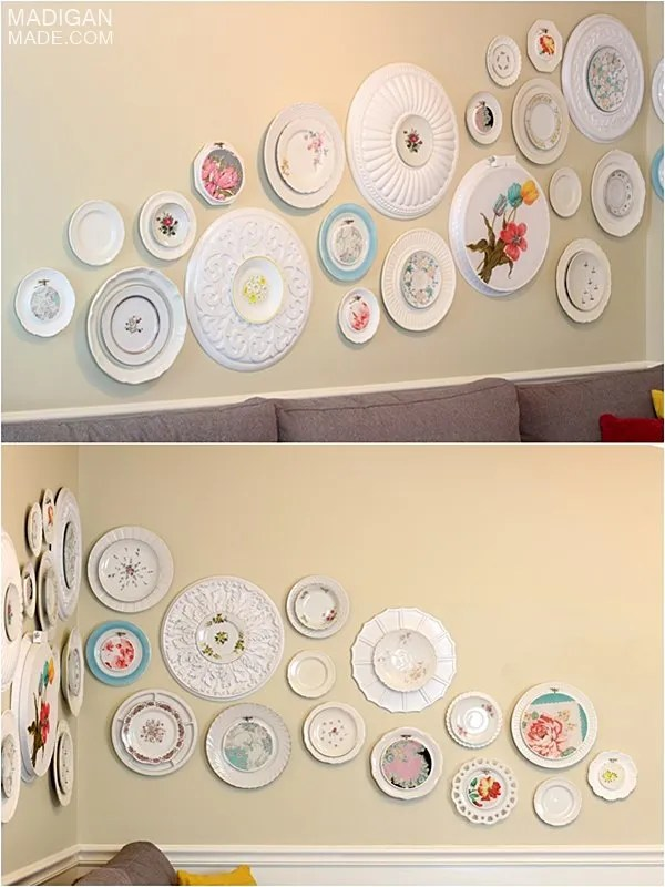 DIY gallery wall with embroidery hoops, vintage plates and ceiling medallions