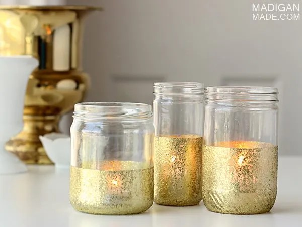Gold glitter painted jar candles - step-by-step instructions.