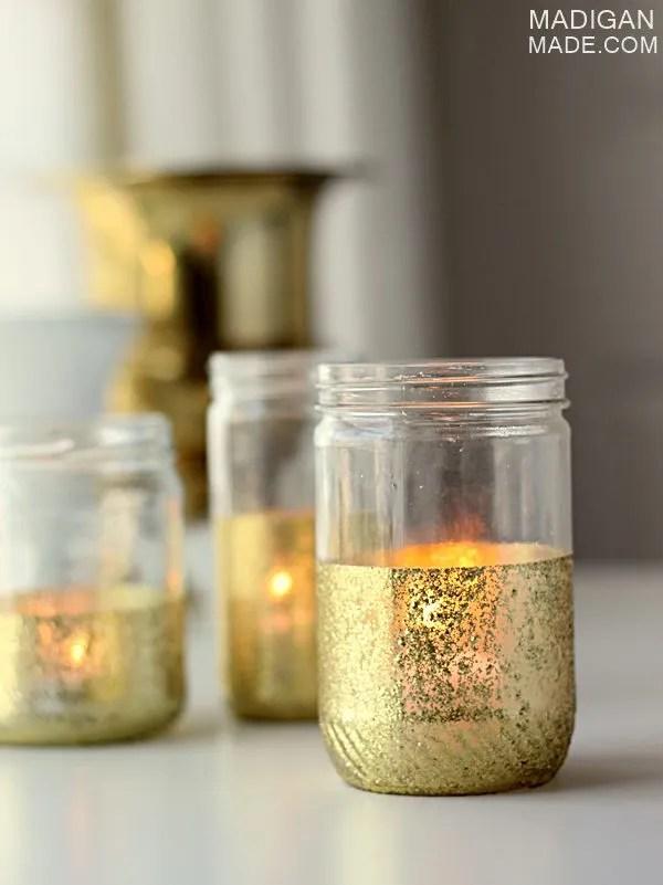 DIY gold glitter dipped jars