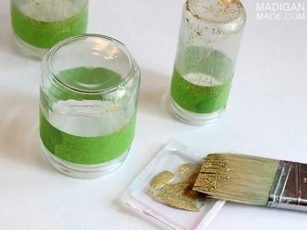 how to paint jars with glitter paint