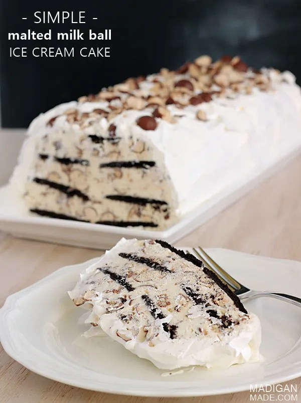 Simple recipe for a malted milk ball ice cream cake