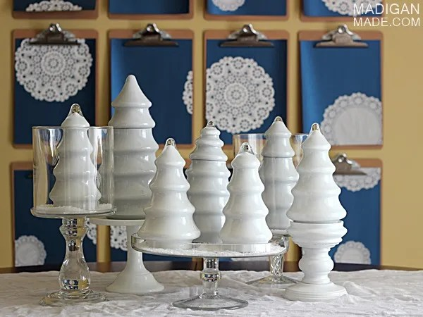White DIY milk glass Christmas trees - gorgeous centerpiece idea!