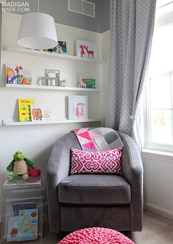 Tips for creating a cozy reading or nursing corner for a nursery (love the book ledges idea!)