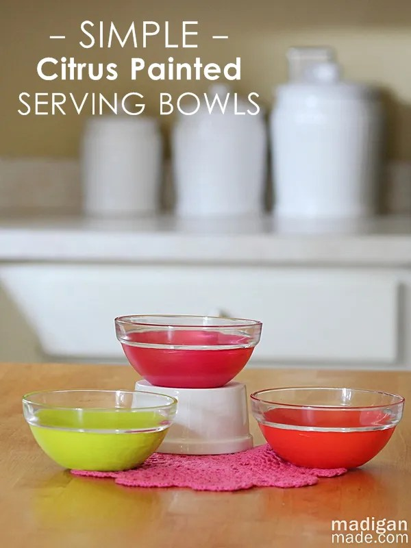 How to paint glass bowls... love the fun, citrus colors.