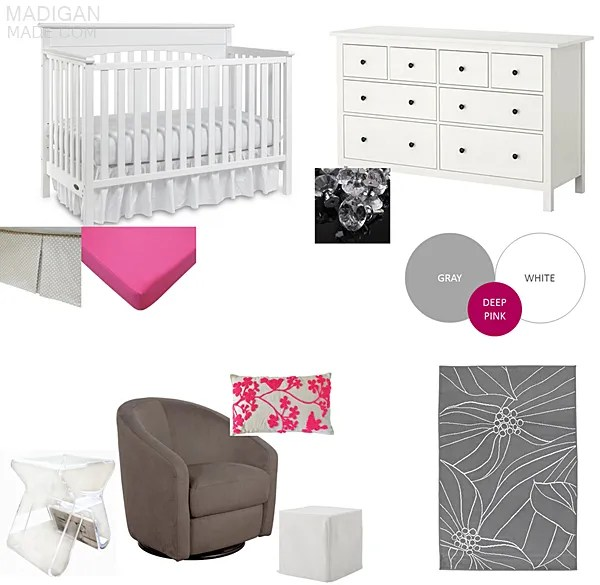 pink and gray modern, vintage nursery decor