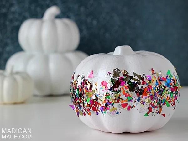 Super simple pumpkin craft using fun confetti