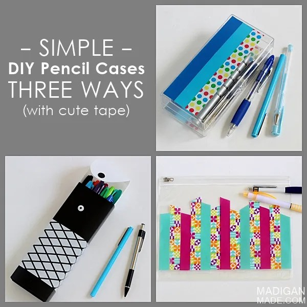 Simple DIY decorated pencil boxes - 3 ways with cute tape!  #ScotchBTS
