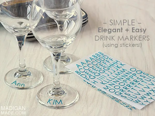 Such a simple, easy and elegant way to mark your drink... glitter stickers!