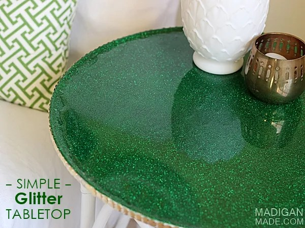 simple green glitter covered table using resin