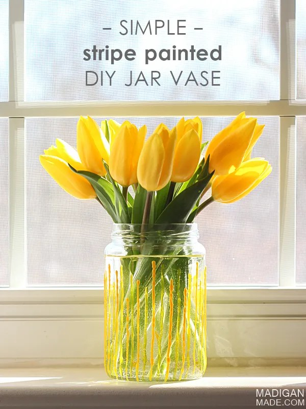 Easy Yellow Stripe DIY Painted Spring Vase