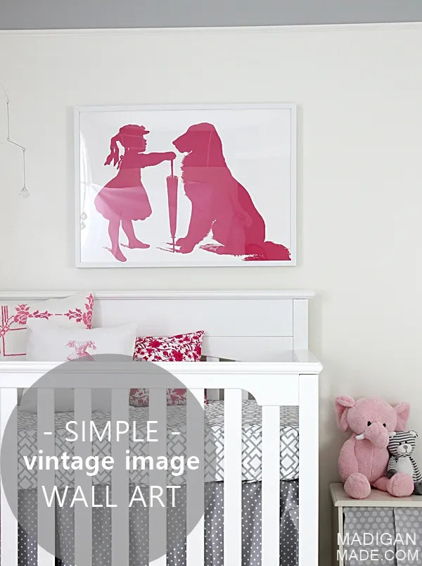 Simple vintage image DIY wall art for a baby girl nursery