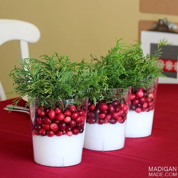 Amazingly simple cranberry centerpieces - perfect for fall into winter!